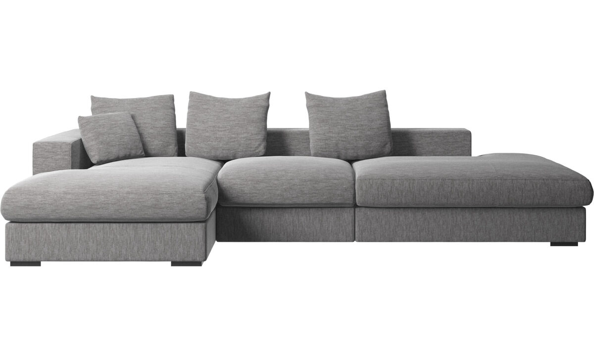 Sofás de 3 plazas - sofá Cenova con módulos de descanso y chaise-longue - En gris - Tela