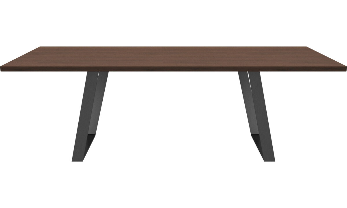 Dining tables - Vancouver table with supplementary tabletop - square - Brown - Walnut