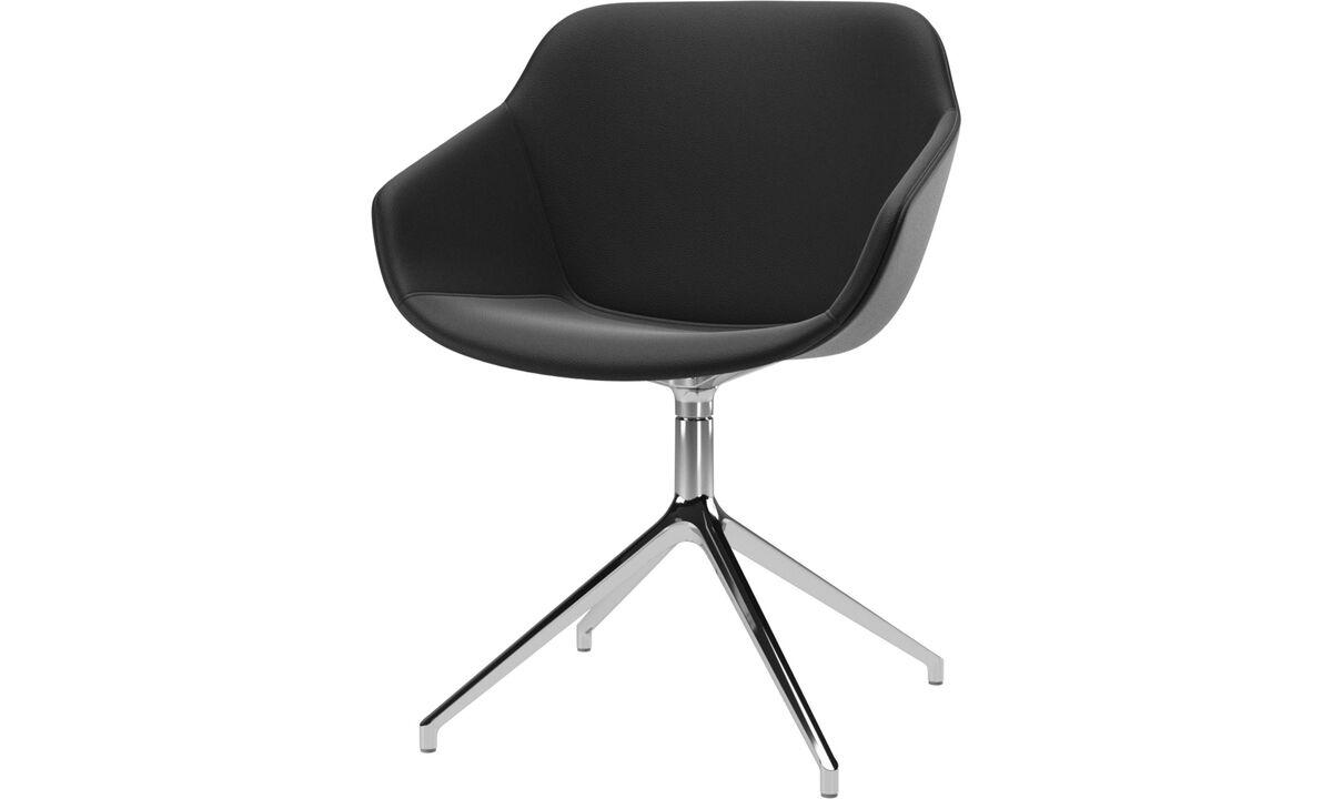 Dining chairs - poltroncina Vienna con funzione girevole - Nero - Pelle