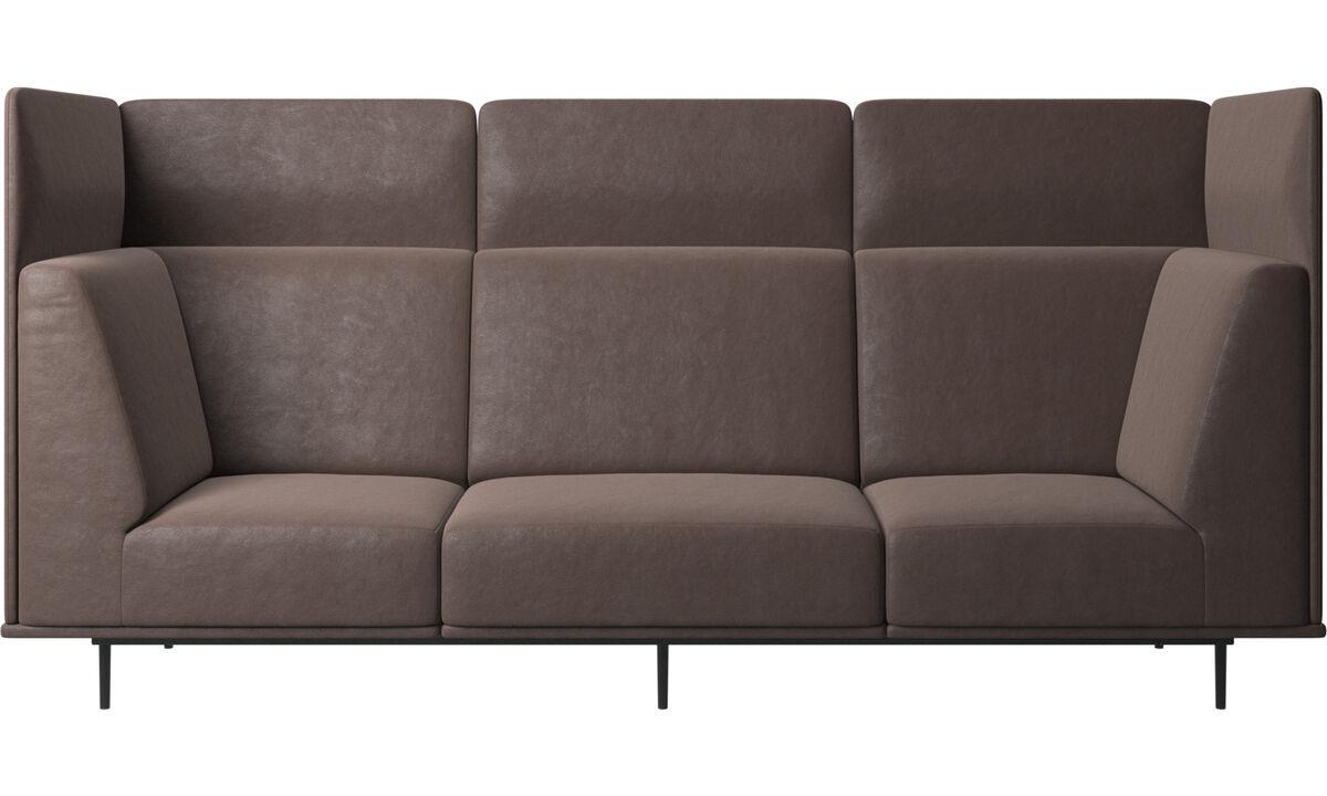 Sofás de 3 lugares - sofá Toulouse - Castanho - Pele