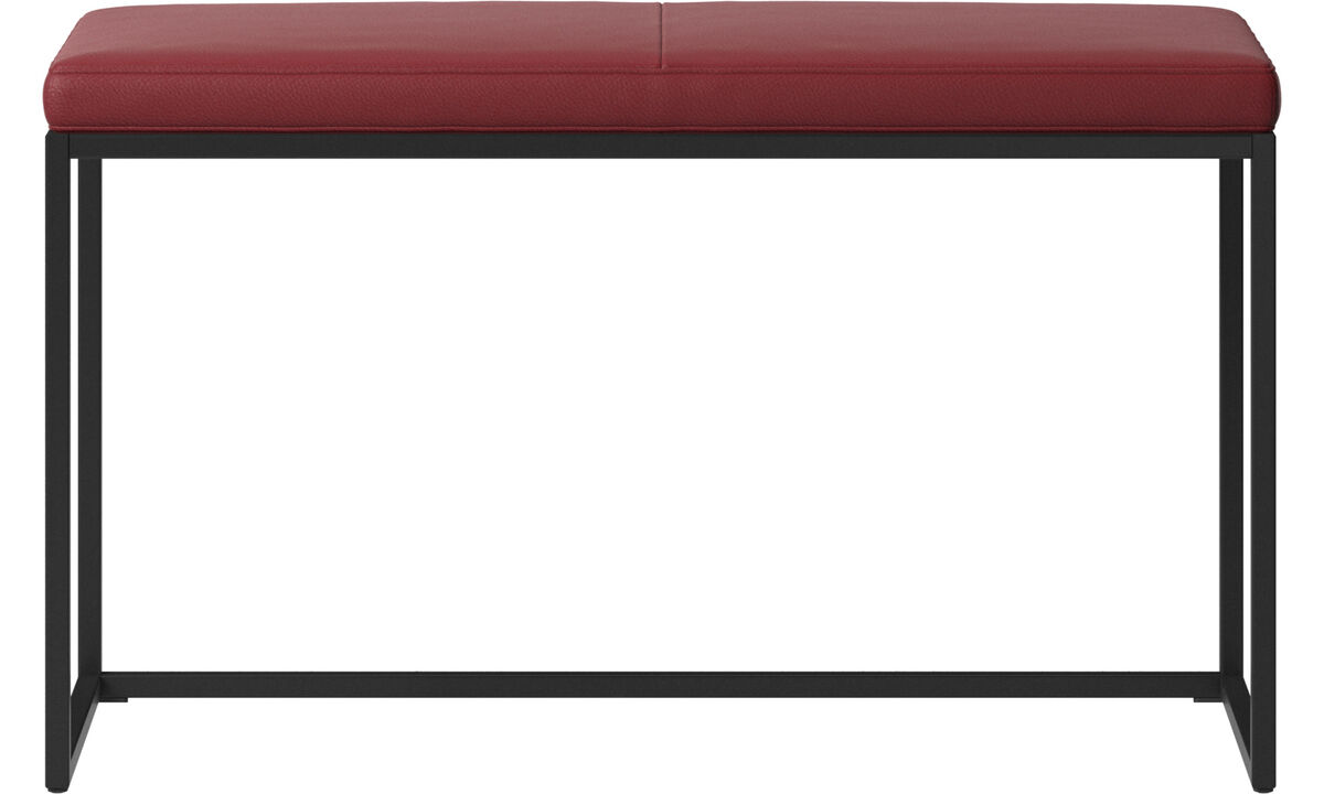 Benches - London small bench with cushion - Red - Leather