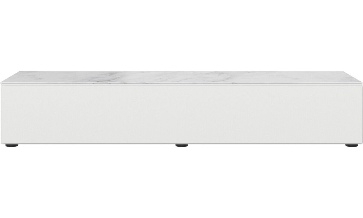 Tv units - Lugano base cabinet with drop-down door and top-plate - White - Lacquered