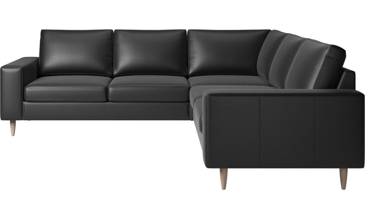 Corner sofas - Indivi corner sofa - Black - Leather