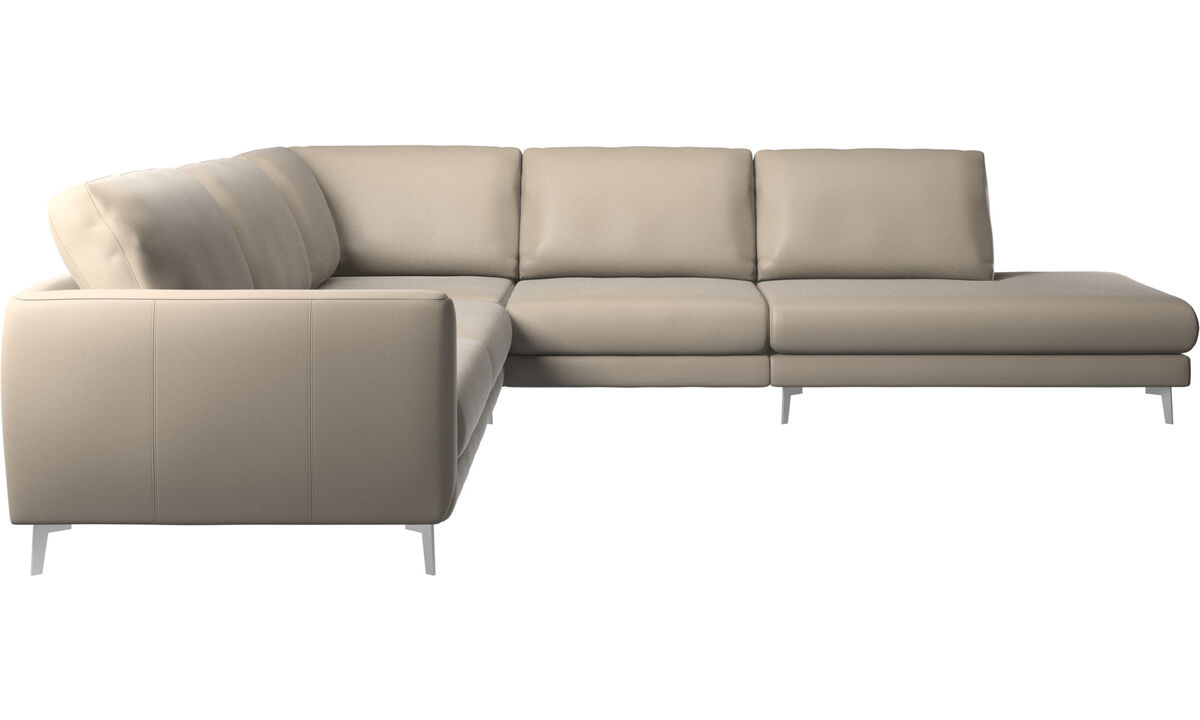 Sofas with open end - Fargo corner sofa with lounging unit - Beige - Leather