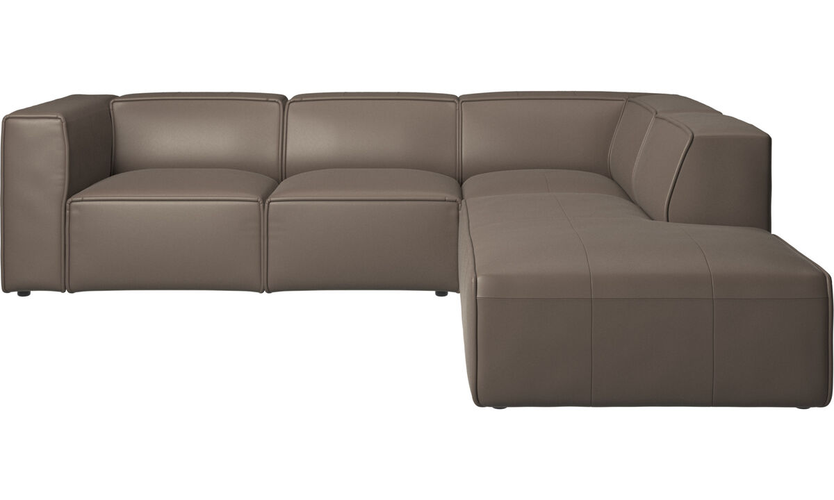 Sofás reclinables - Sofá esquinero Carmo con movimiento - En gris - Piel
