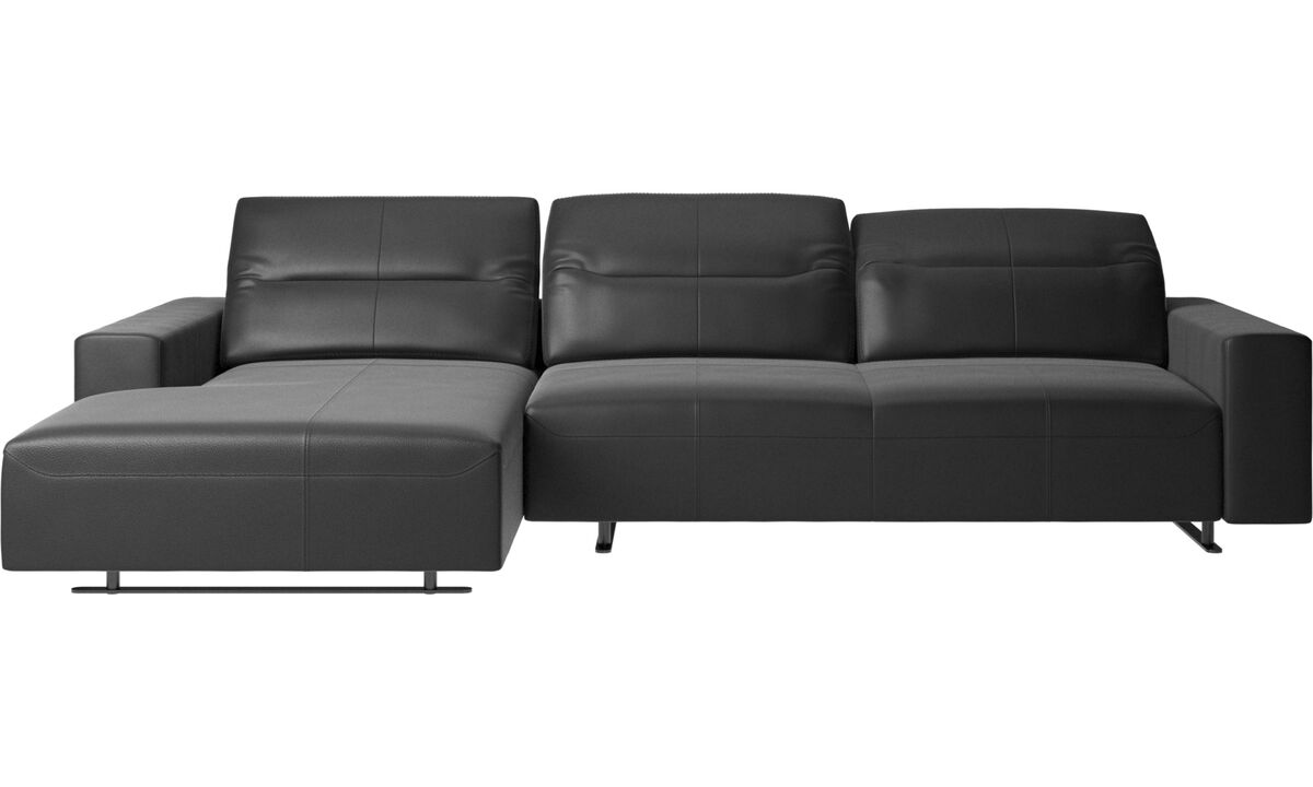 Chaise longue sofas - Hampton sofa with adjustable back, resting unit and storage left side - Black - Leather