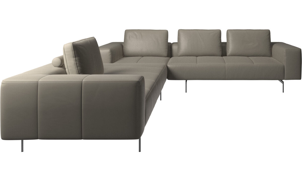 Modular sofas - Amsterdam corner sofa - Grey - Leather