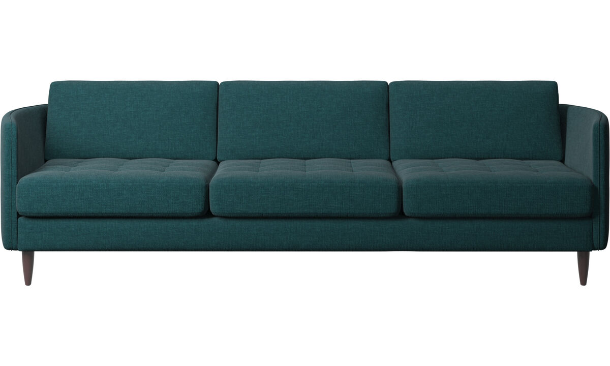 Sofás de 3 plazas - sofá Osaka, asiento capitoné - En azul - Tela