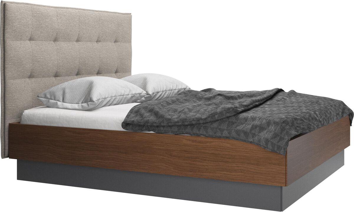 Nuevas camas - cama con canapé Lugano, estructura elevable y tablado, no incluye colchón - En beige - Tela