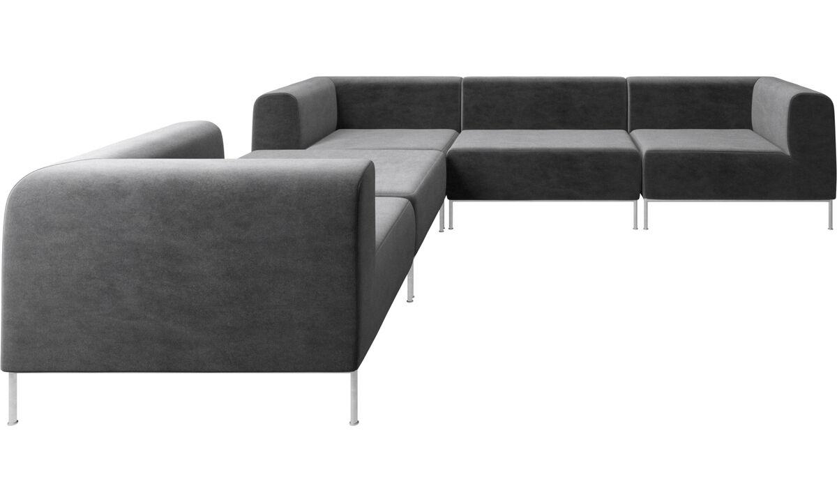 Modulære sofaer - Miami hjørnesofa med puf på venstre side - Grå - Stof