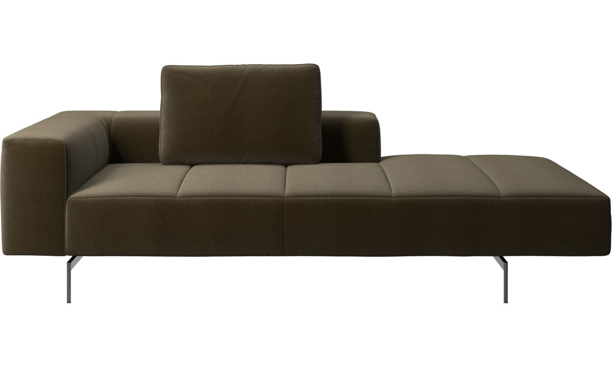 Modular sofas - Amsterdam Iounging module for sofa, armrest left, open end right - Brown - Fabric