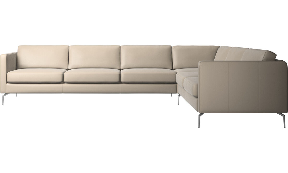 Corner sofas - Osaka corner sofa, regular seat - Beige - Leather