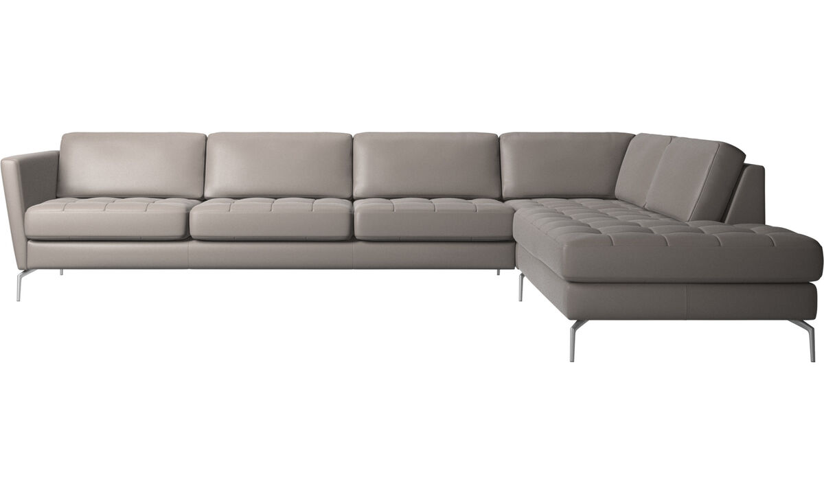 New designs - Osaka corner sofa with lounging unit, tufted seat - Beige - Leather