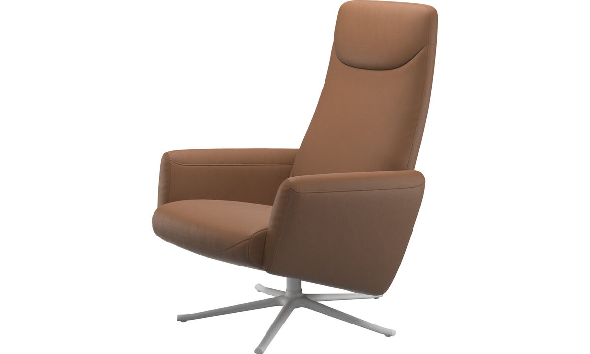 Butacas reclinables - butaca reclinable Lucca con función giratoria - En marrón - Piel