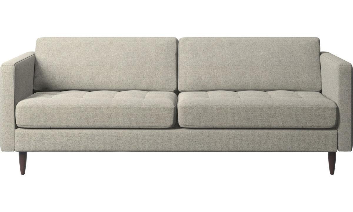 Sofás de 2 plazas y media - sofá Osaka, asiento capitoné - En beige - Tela
