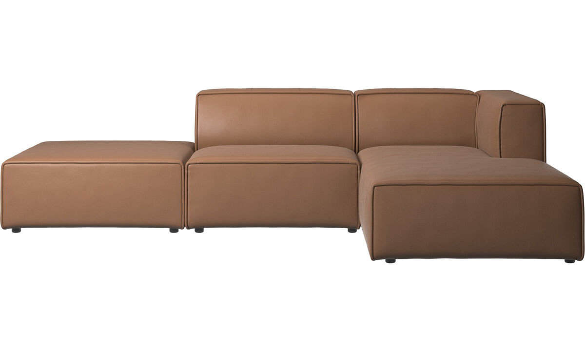 Chaise lounge sofas - Carmo sofa with lounging and resting unit - Brown - Leather