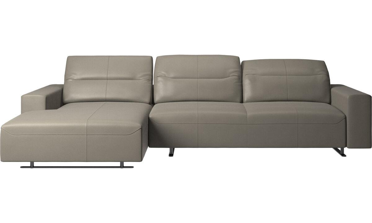 Sofás con chaise longue - Sofá Hampton con respaldo ajustable y módulo de descanso en lado izquierdo, almacenamiento lado derecho - En gris - Piel