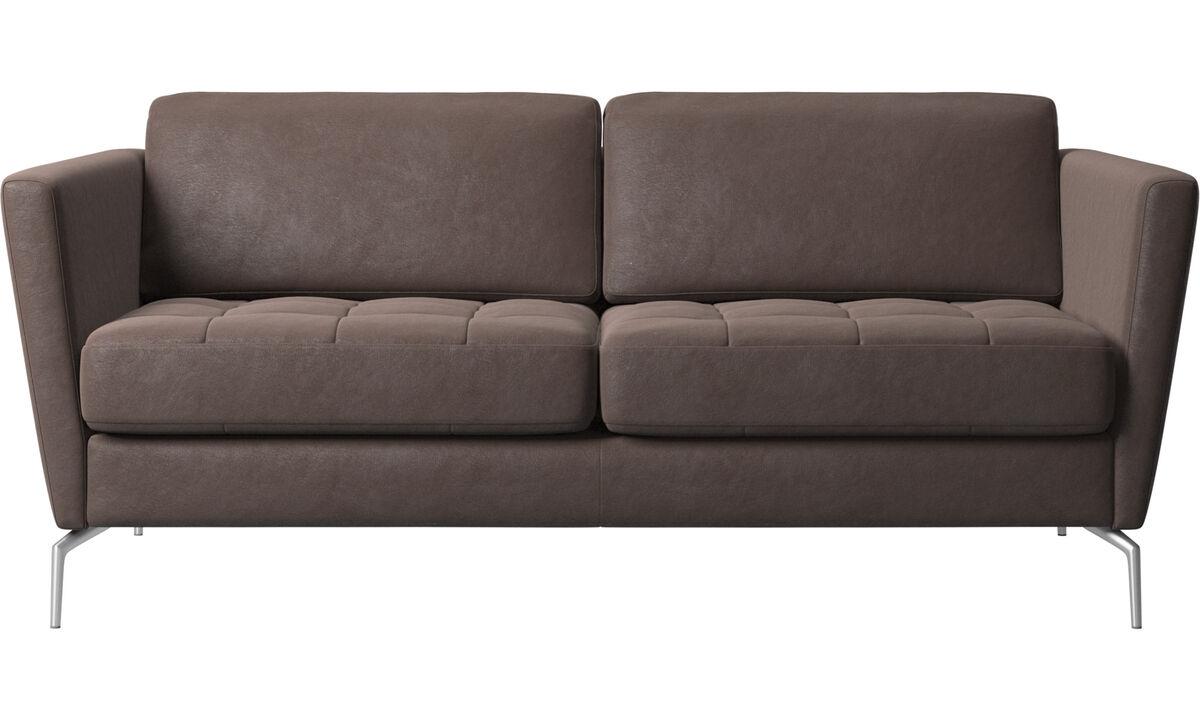 2 seater sofas - Osaka sofa, tufted seat - Brown - Leather
