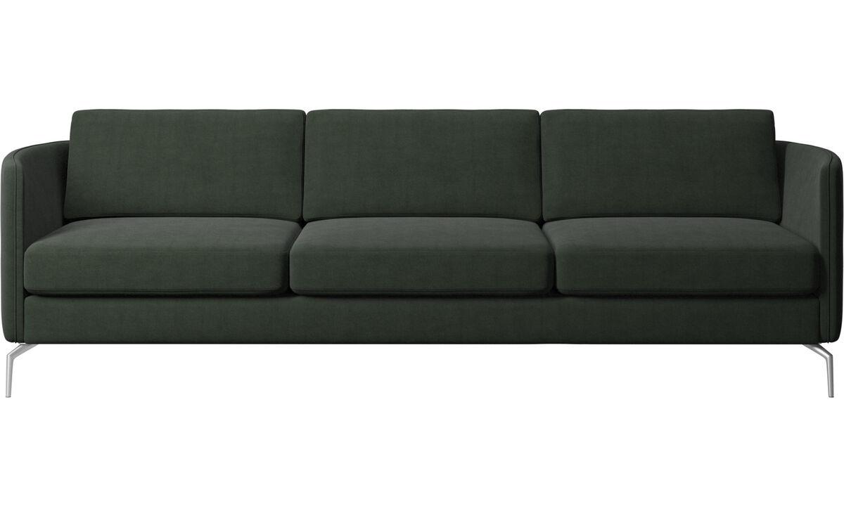 Sofás de 3 plazas - sofá Osaka, asiento regular - En verde - Tela