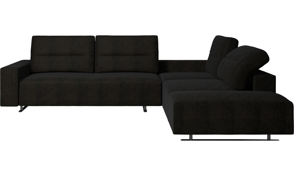 Sofas with open end - Hampton corner sofa with adjustable back and lounging unit - Brown - Fabric
