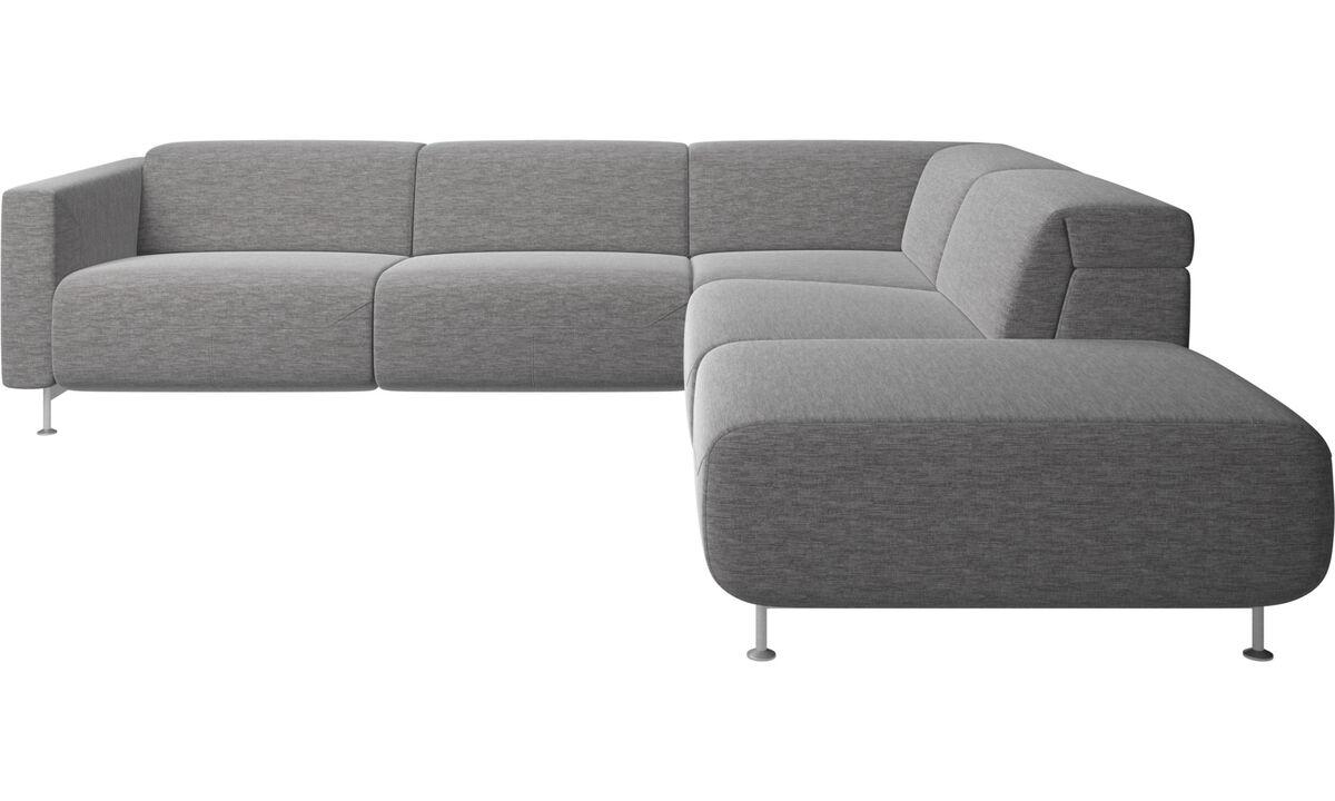 Sofás reclinables - Sofá esquinero reclinable Parma con lado abierto - En gris - Tela