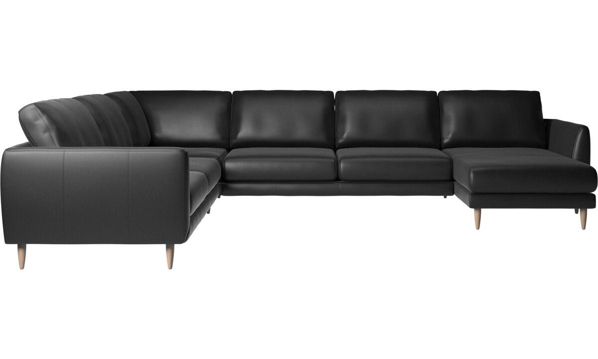 Sofás esquineros - Sofá esquinero Fargo con módulo chaise-longue - En negro - Piel