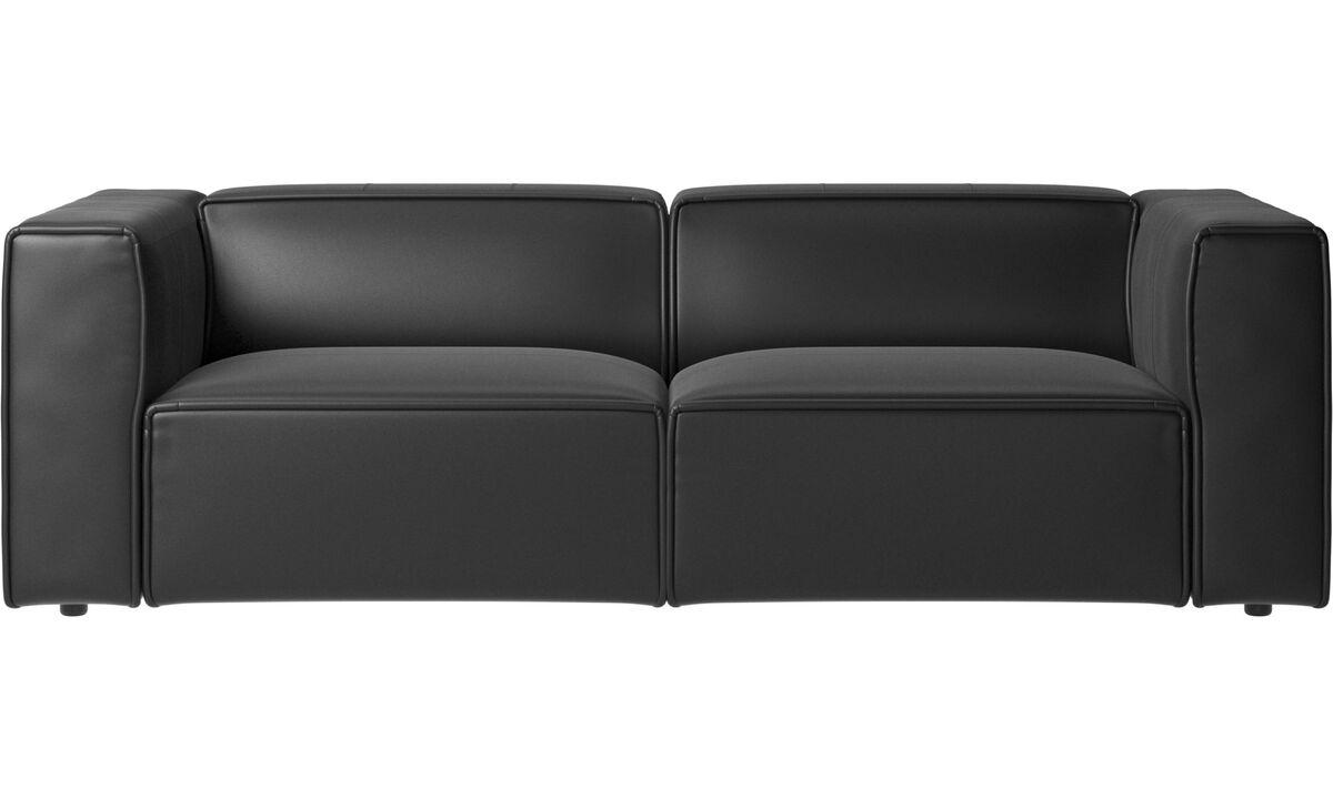 Sofás reclinables - Sofá Carmo con movimiento - En negro - Piel