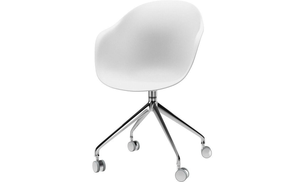 Dining chairs - Adelaide chair with swivel function and wheels - White - Metal