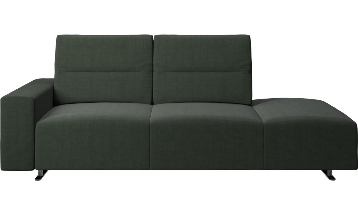 Sofas with open end - Hampton sofa with adjustable back and lounging unit right side, storage and armrest left side - Green - Fabric