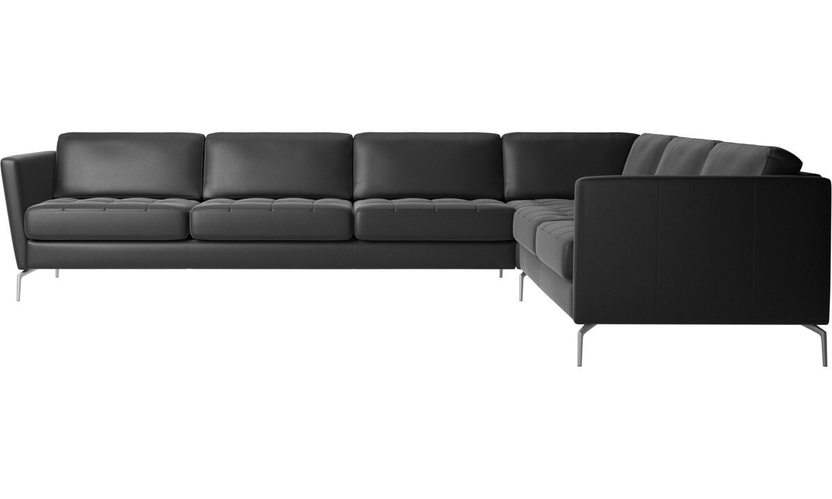 Corner sofas - Osaka corner sofa, tufted seat - Black - Leather