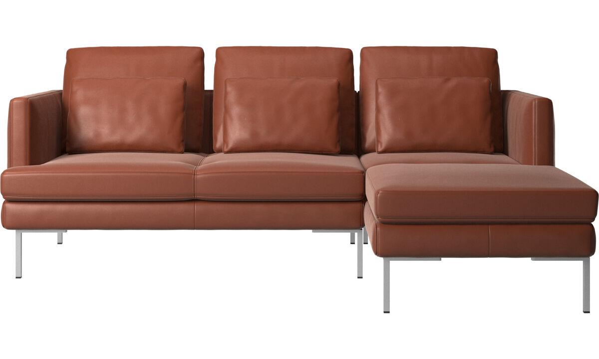 Sofás de 3 plazas - sofá Istra 2 con módulo chaise-longue - En marrón - Piel