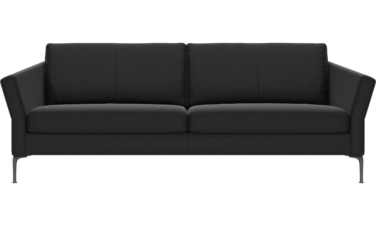 Sofás de 3 plazas - sofá Marseille - En negro - Piel