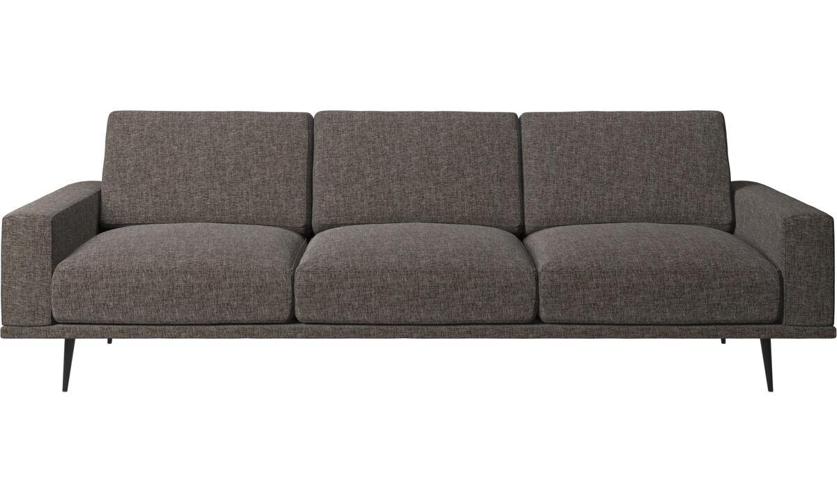 Sofás de 3 plazas - Sofá Carlton - En marrón - Tela