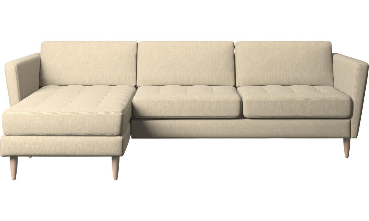 Chaise lounge sofas - Osaka sofa with resting unit, tufted seat - Brown - Fabric