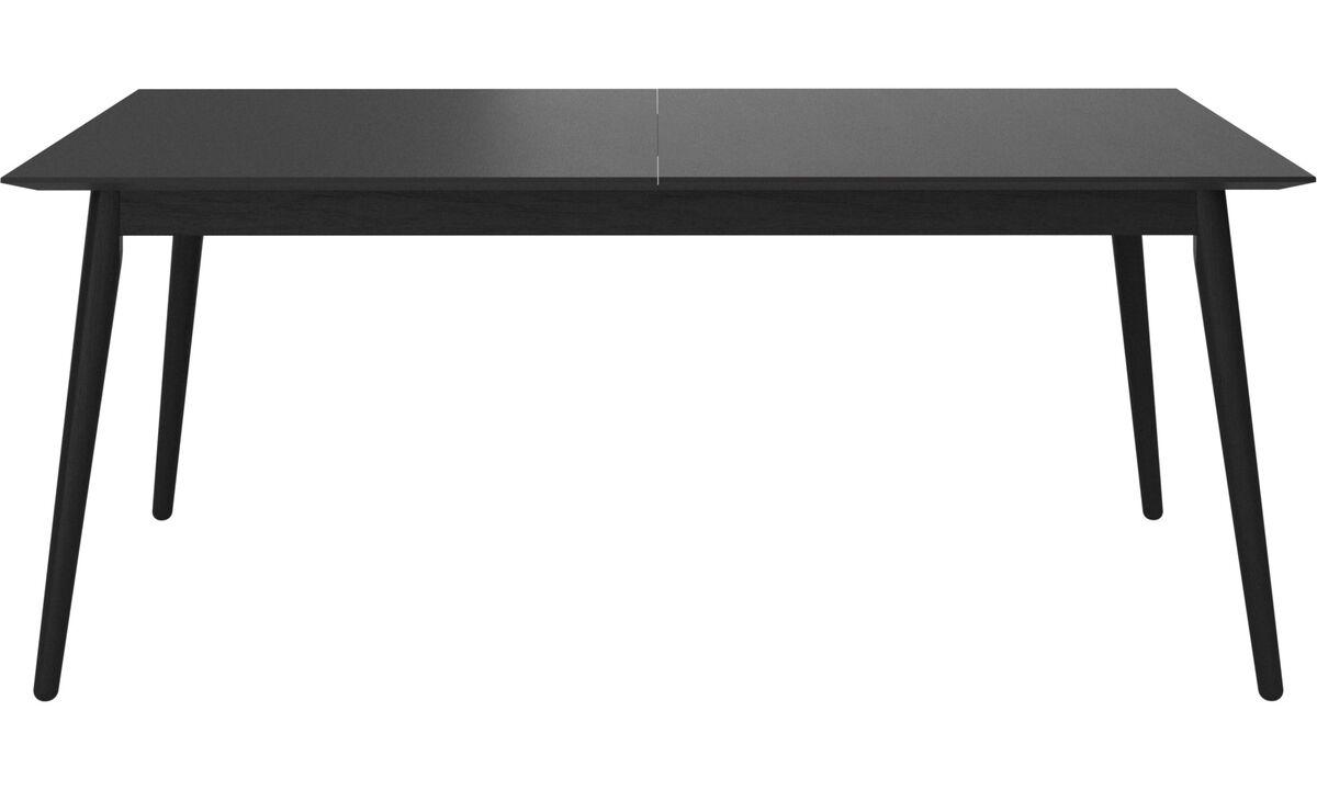 Mesas de comedor - mesa extensible con tablero suplementario Milano - rectangular - En negro - Roble
