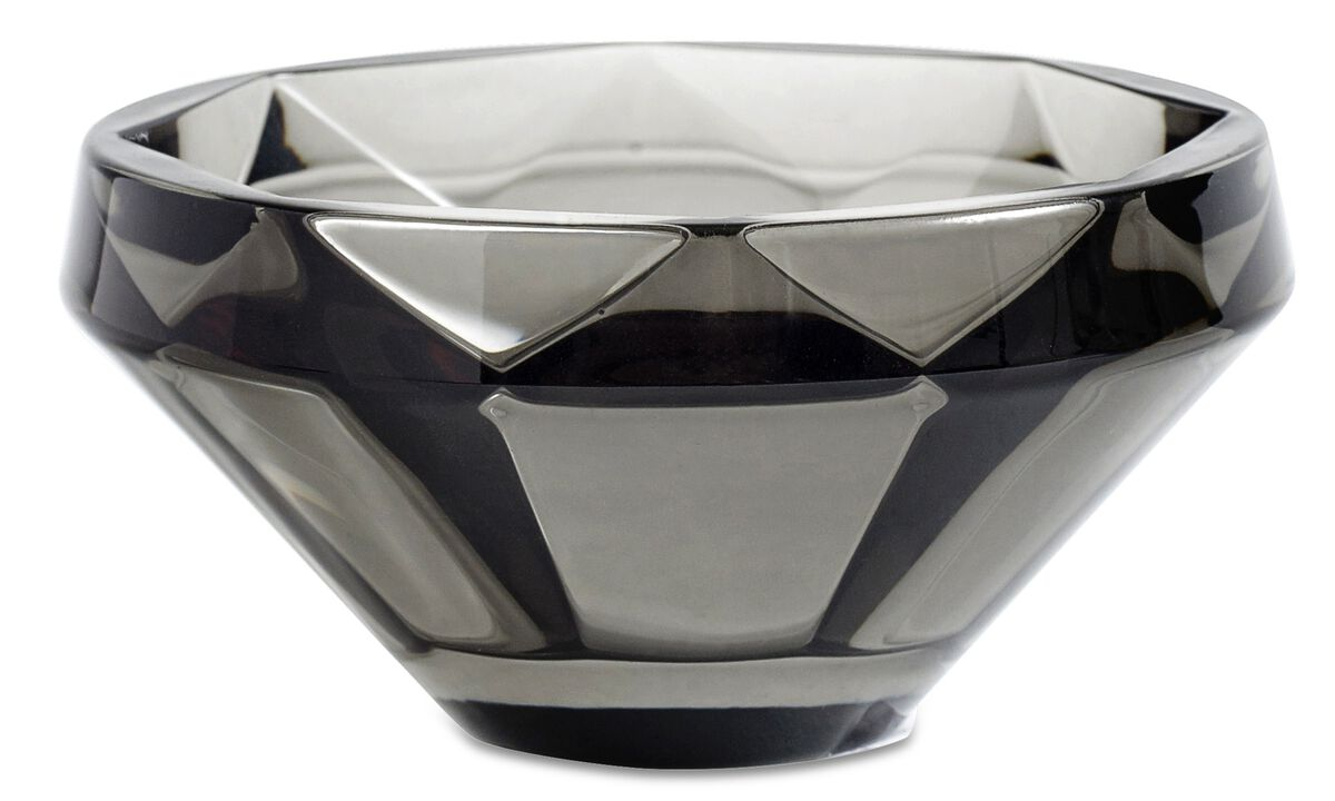 Candle holders - Diamond tealight holder - Grey - Glass