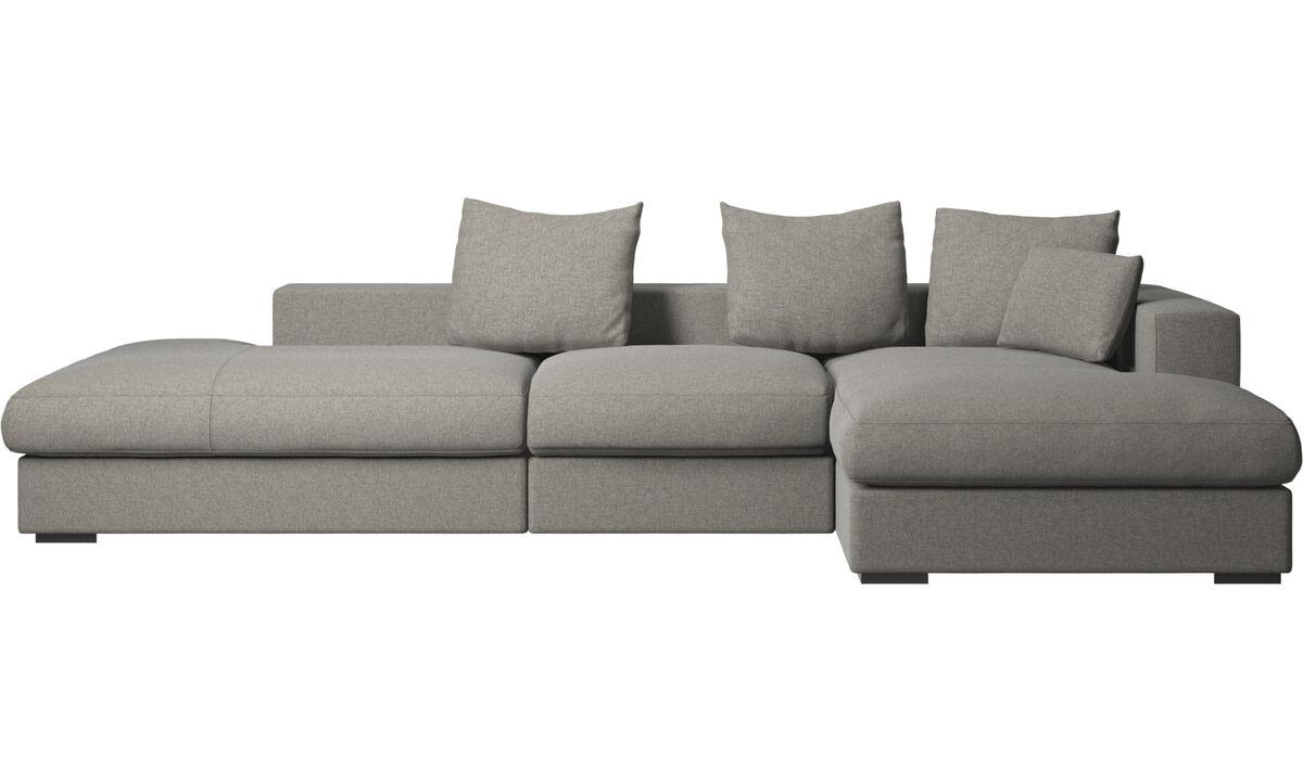 3 seater sofas - Cenova divano con lounge e penisola - Nero - Tessuto