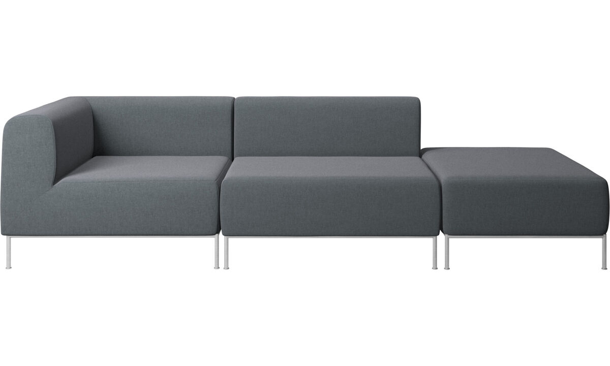 Modular sofas - Miami sofa with pouf on right side - Grey - Fabric