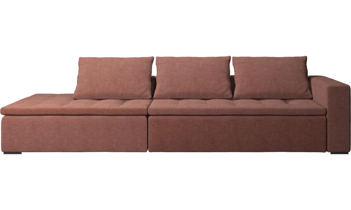 Sofás com canto aberto - Sofá Mezzo com módulo de descanso - Vermelho - Tecido