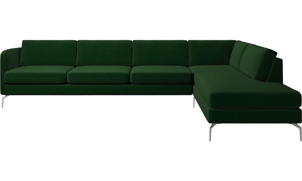 Corner sofas - Osaka corner sofa with lounging unit, regular seat - Green - Fabric