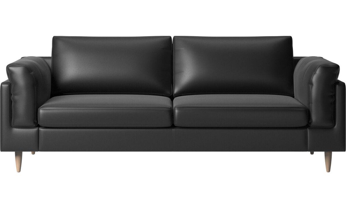 Sofás de 2 plazas y media - sofá Indivi - En negro - Piel
