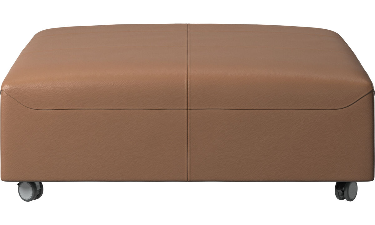 Footstools - Hampton pouf on wheels - Brown - Leather