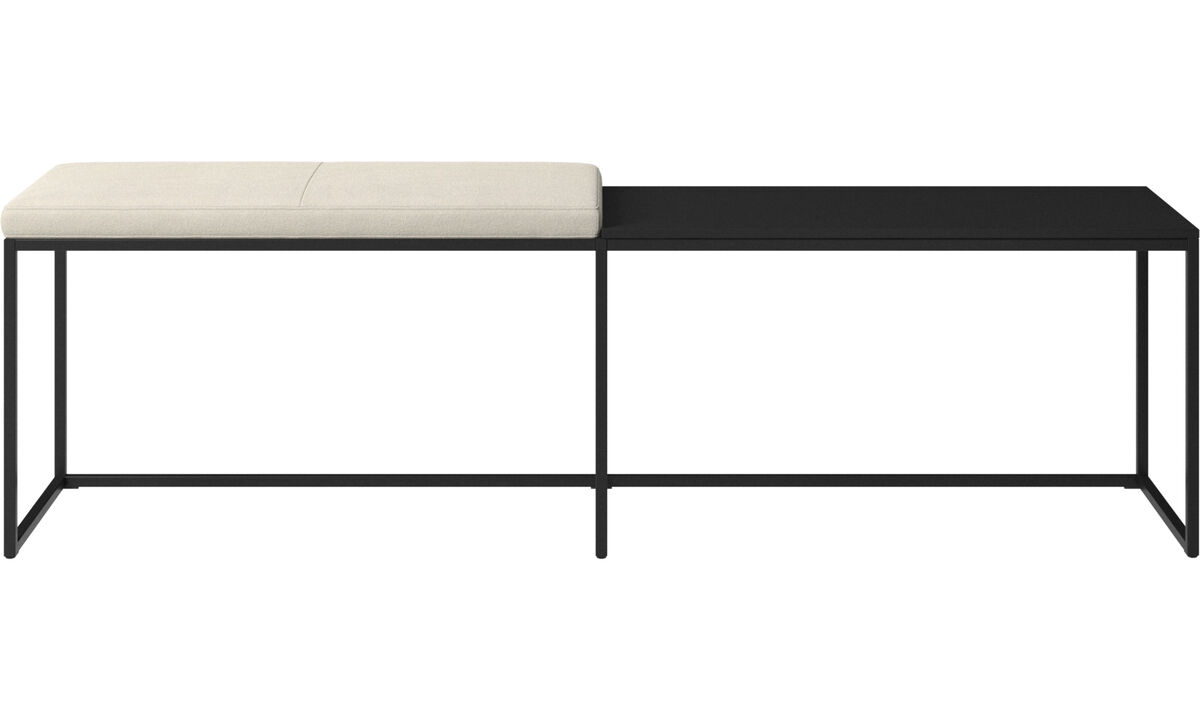 Benches - London large bench with cushion and shelf - White - Fabric