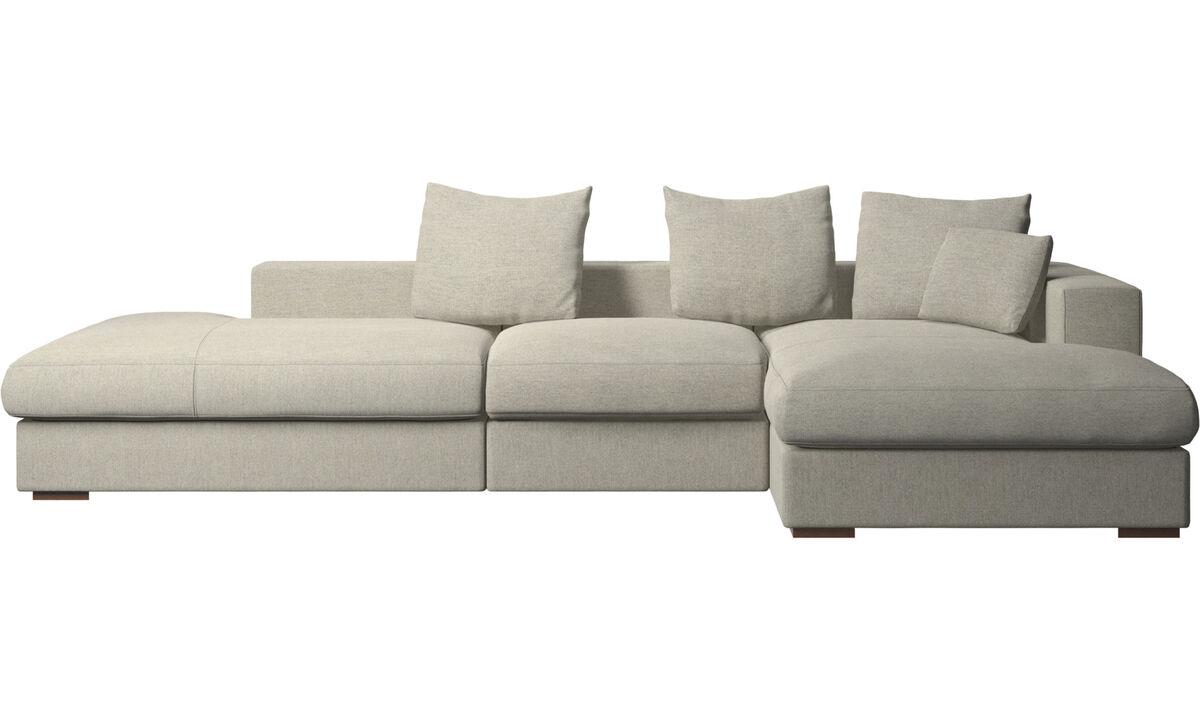 Sofás de 3 plazas - sofá Cenova con módulos de descanso y chaise-longue - En beige - Tela