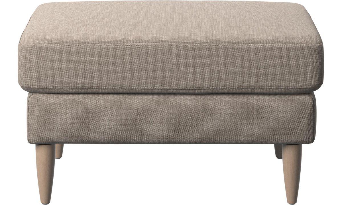 Ottomans - Osaka footstool, tufted seat - Beige - Fabric