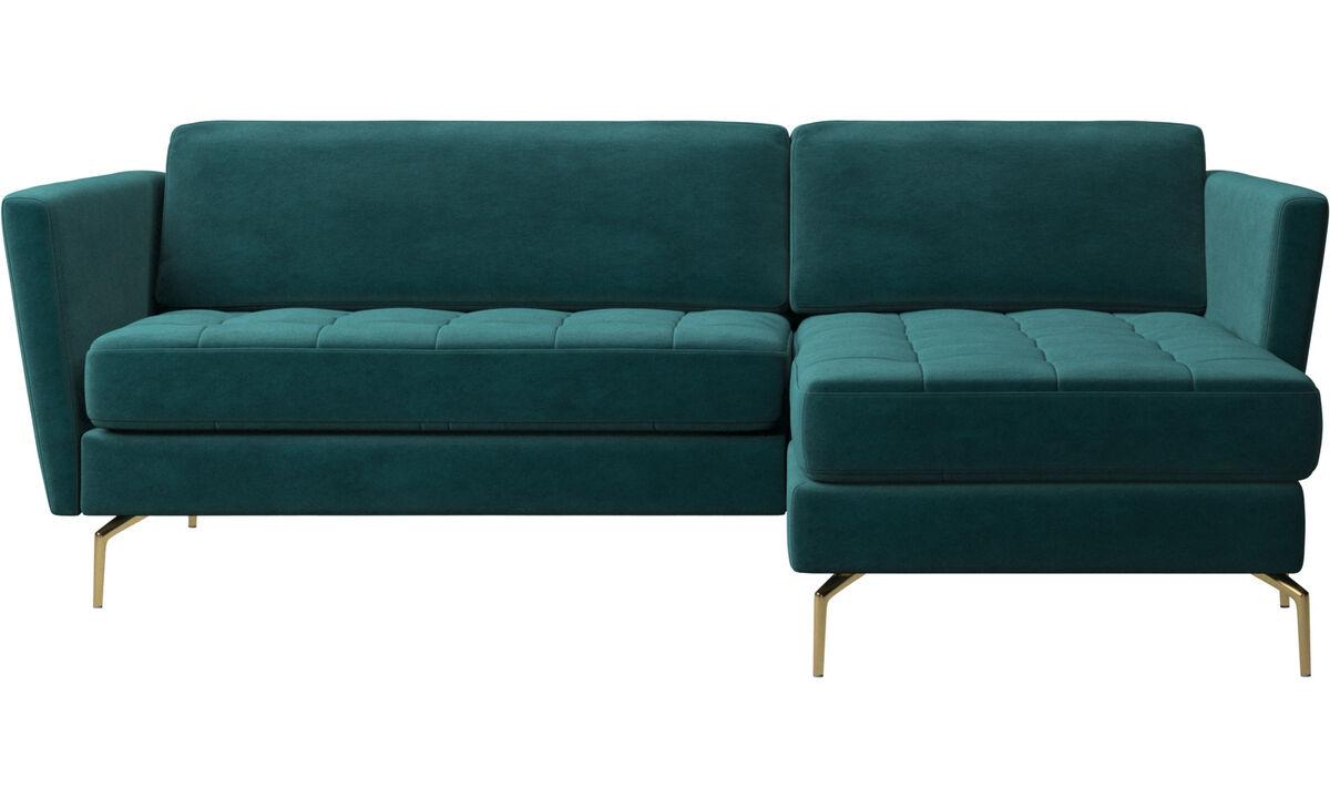 Sofaer med chaiselong - Osaka sofa med hvilemodul, tuftet sædehynde - Blå - Stof