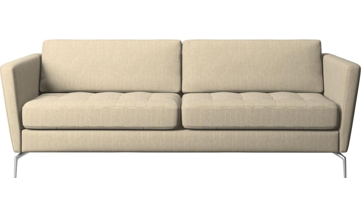 2.5 seater sofas - Osaka sofa, tufted seat - Brown - Fabric
