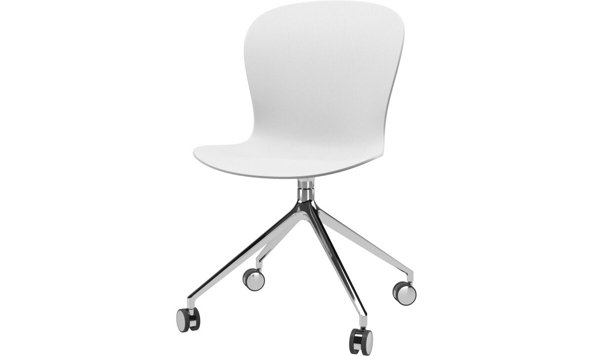 Home office chairs - Adelaide chair with swivel function and wheels - White - Plastic