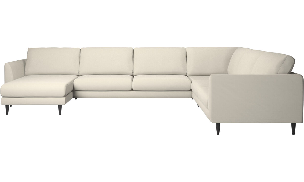 Corner sofas - Fargo corner sofa with resting unit - White - Fabric