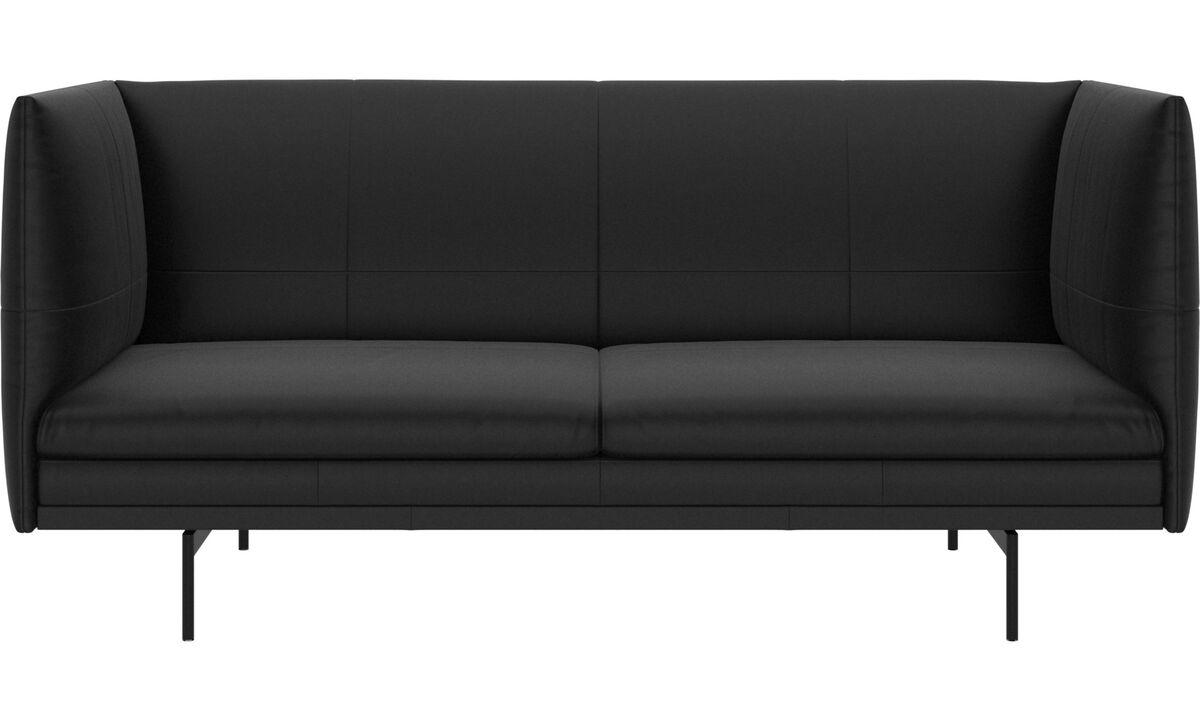 2 seater sofas - Nantes sofa - Black - Leather